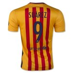 Barcelona 2015-16 Away Suárez 9 Soccer Jersey Yellow