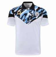 Manchester City 20/21 Polo Jersey White Blue