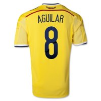 2014 Colombia #8 AGUILAR Home Yellow Jersey Shirt