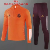 20/21 Kids Real Madrid Tracksuit Orange Training Sweat Top and Pants