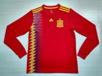 Spain 2018 World Cup Home Long Sleeve Soccer Jersey Shirt