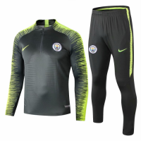 Manchester City 18/19 Sweat Shirt Tracksuits Black Green With Pants