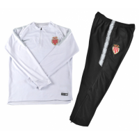 Kids AS Monaco FC 18/19 Sweat Top Tracksuit White With Pants