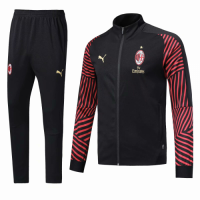 AC Milan 18/19 Training Jacket Tracksuit Black Red With Pants