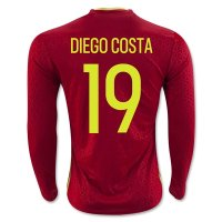 Spain 2016 DIEGO COSTA #19 LS Home Soccer Jersey