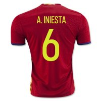 Spain 2016 A. INIESTA #6 Home Soccer Jersey