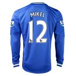 13-14 Chelsea #12 MIKEL Home Long Sleeve Jersey Shirt