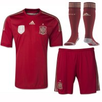 2014 Spain Home Red Jersey Whole Kit(Shirt+Shorts+Socks)