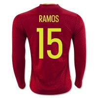 Spain 2016 RAMOS #15 LS Home Soccer Jersey