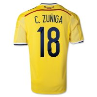 2014 Colombia #18 ZUNIGA Home Yellow Jersey Shirt