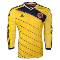 2014 World Cup Colombia Home Long Sleeve Soccer Jersey