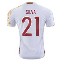 Spain 2016 SILVA #21 Away Soccer Jersey