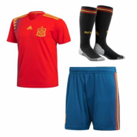 Kids Spain 18/19 Home Soccer Sets (Shirt+Shorts+Socks)