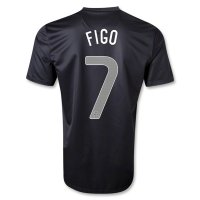 2013 Portugal #7 FIGO Away Black Jersey Shirt
