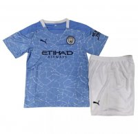 20/21 Kids Manchester City Home Soccer Uniforms (Shirt+Shorts)