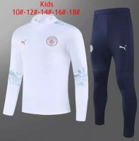 20/21 Kids/Youth Manchester City Training Sweat Top Tracksuit White and Pants
