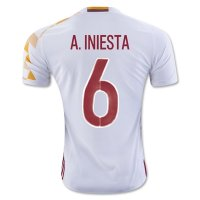 Spain 2016 A. INIESTA #6 Away Soccer Jersey