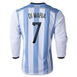 2014 Argentina #7 DI MARIA Home Soccer Long Sleeve Jersey Shirt