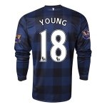 13-14 Manchester United #18 YOUNG Away Black Long Sleeve Jersey Shirt