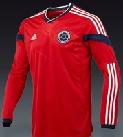 2014 World Cup Colombia Away Long Sleeve Soccer Jersey