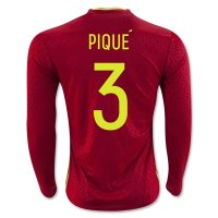 Spain 2016 PIQUE #3 LS Home Soccer Jersey
