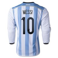 2014 Argentina #10 MESSI Home Soccer Long Sleeve Jersey Shirt