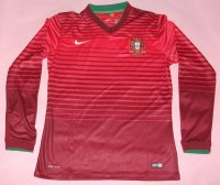 2014 World Cup Portugal Home Long Sleeve Soccer Jersey Shirt