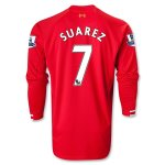 13-14 Liverpool #7 SUAREZ Home Long Sleeve Jersey Shirt