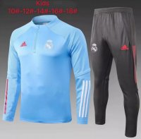 20/21 Kids Real Madrid Tracksuit Blue Training Sweat Top and Pants