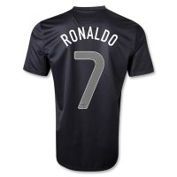 2013 Portugal #7 RONALDO Away Black Jersey Shirt