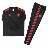 Kids Manchester United 18/19 Sweat Shirt Tracksuit Black With Pants