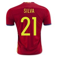 Spain 2016 SILVA #21 Home Soccer Jersey