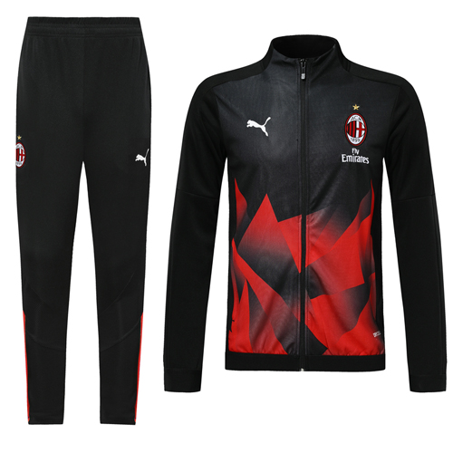 AC Milan 19/20 Tracksuit Black Red Training Jacket With Pants