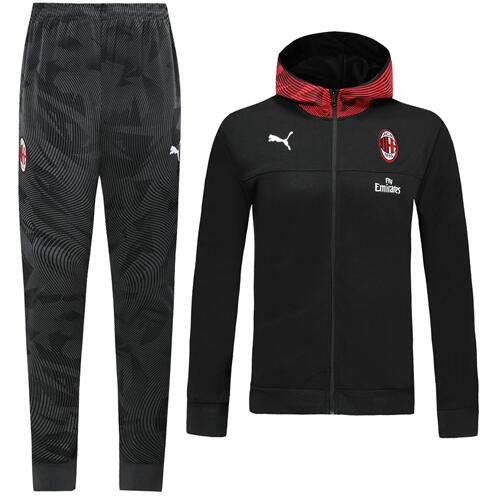 AC Milan 19/20 Tracksuit Hoody Jacket Black With Pants
