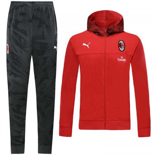 AC Milan 19/20 Tracksuit Hoody Jacket Red With Pants