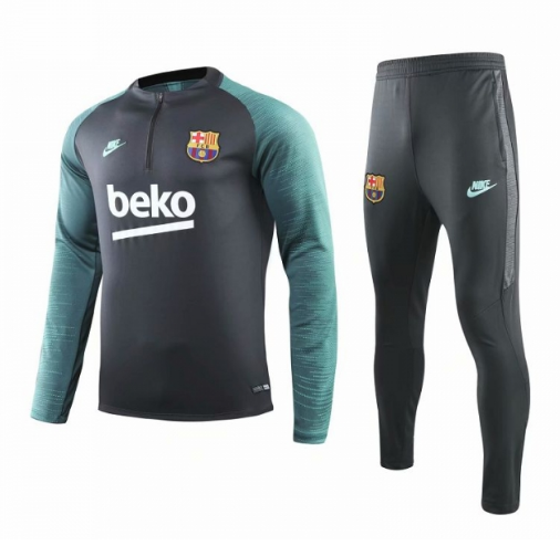 Barcelona 19/20 Tracksuit Training Sweat Shirt Grey Green and Pants