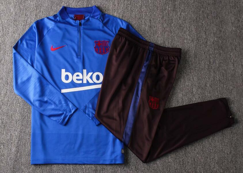 19/20 Youth Barcelona Tracksuit Training Top Blue and Pants
