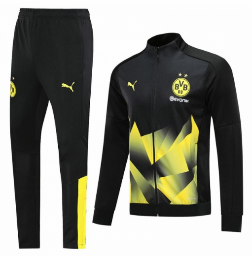 Dortmund 19/20 Tracksuits Training Jacket Top Black yellow With Pants