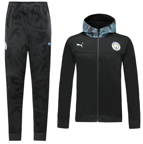 Manchester City 19/20 Tracksuit Hoody Jacket black With Pants