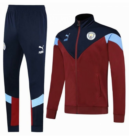 Manchester City 19/20 Tracksuit Training Jacket Navy Red With Pants