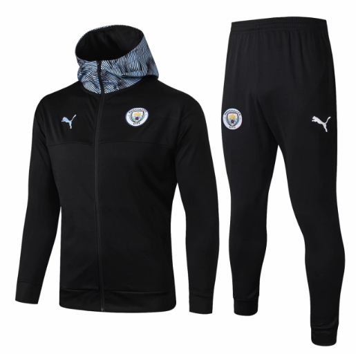 Manchester City 19/20 Tracksuit Hoody Jacket Black and Pants
