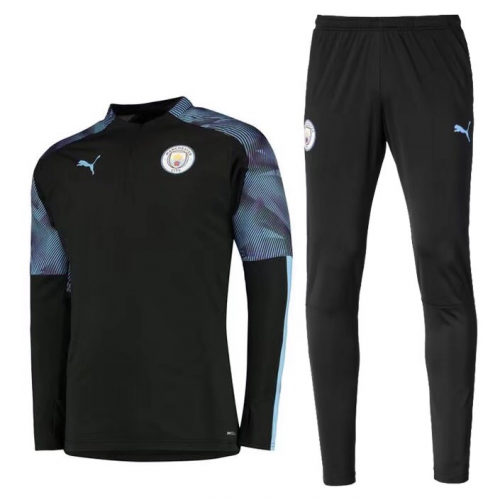Manchester City 19/20 Tracksuits Sweatshirt Black With Pants