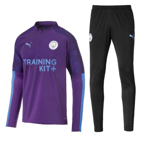 Manchester City 19/20 Tracksuits Sweatshirt Purple With Pants
