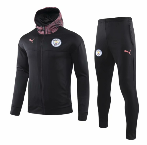 Manchester City 19/20 Tracksuits Training Hoody Jacket Black With Pants