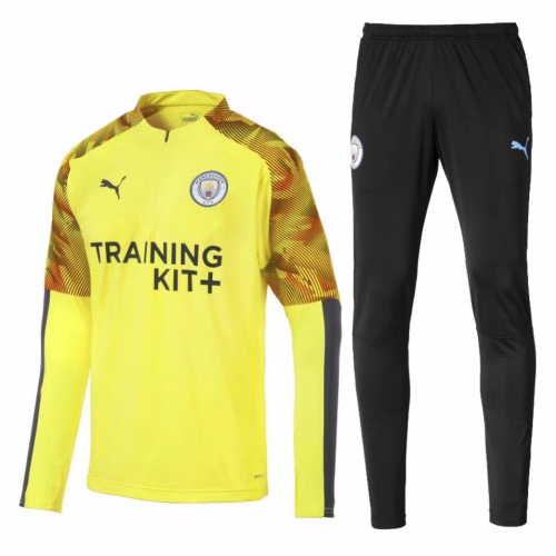 Manchester City 19/20 Tracksuits Sweatshirt Yellow With Pants