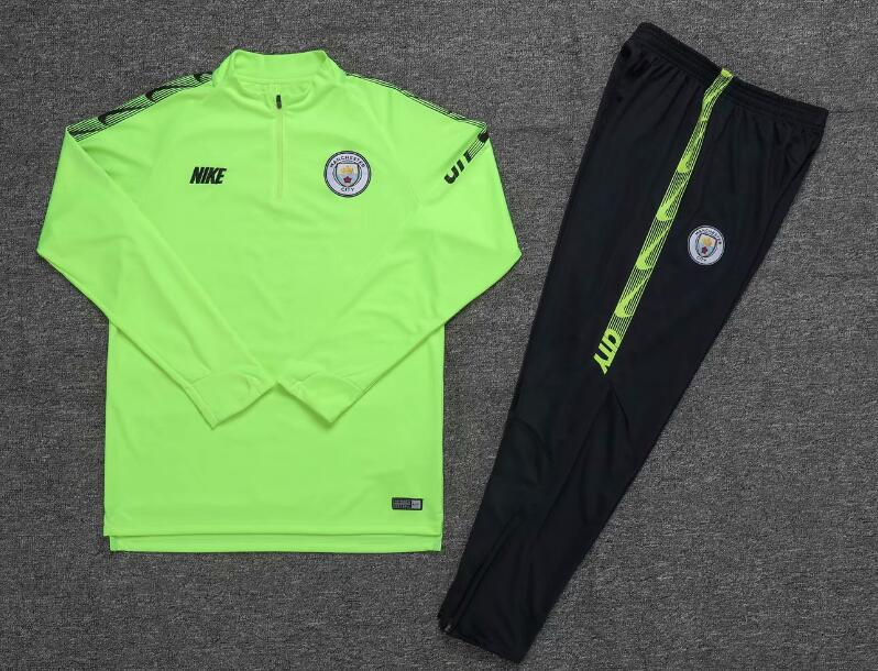 19/20 Youth Manchester City Tracksuit Training Top Green and Pants
