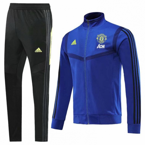 Manchester United 19/20 Tracksuit Training Jacket Top Blue With Pants
