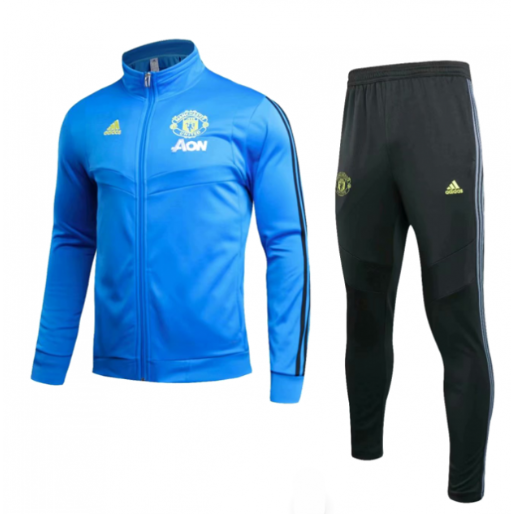 Manchester United 19/20 Training Kits Blue Jacket Top and Pants