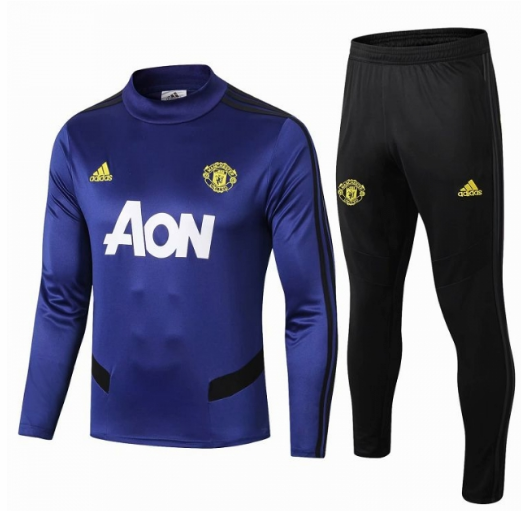 Manchester United 19/20 Tracksuit Training Sweat Top Blue With Pants
