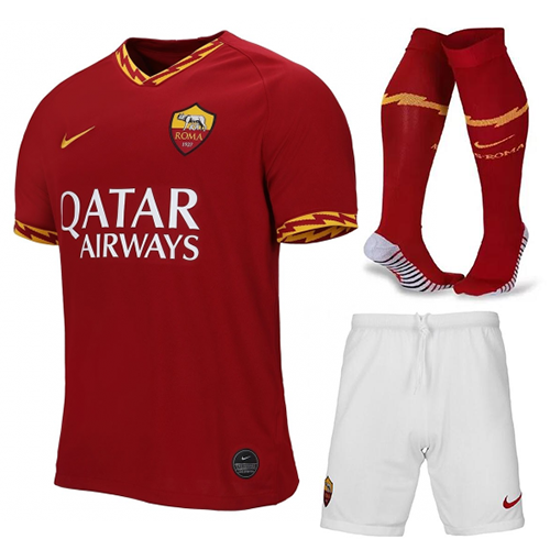 AS Roma 19/20 Home Soccer Jersey Full Sets (Shirt + Shorts + Socks)